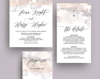 Pastel Abstract Watercolor Washes Wedding Invitation Printable