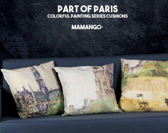 """Mystical Notre-Dame Paris painting, set of 3 cushions with colorful printed details of paint, Bright color, 16"""" - Limited Edition of 100"""
