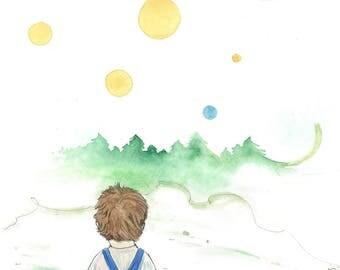 Friends I, original illustration, for kids room, boy with a teddy, landscape, wood, forest, hippie, mood, joy