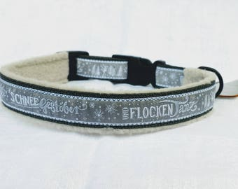 "Romantic dog collar ""snow"", adjustable, grey/white,"