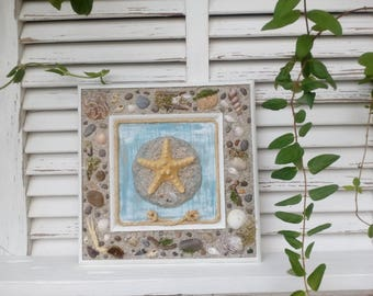 Starfish picture - Coastal Beach - Birthday gift -  - Nautical accents - Beach Decor - Wall Decor - Decorative Frame - Room Decoration