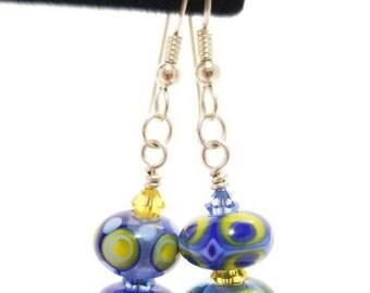 Lampwork Earrings, Glass Bead Earrings, Blue Lampwork Earrings, Blue and Yellow Earrings, Lampwork Jewelry, Dangle Earrings, Boho Earrings