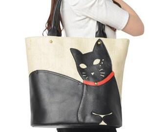 Chigracci/Cat Tote/[Neko Tote]/Kuroneko/original design/Kinari