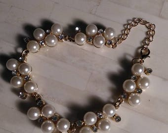 Bracelet / Faux Pearl and Rhinestone w/ Lobster Clasp AND 2 Inch Extender Chain
