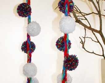 Multicoloured, white, sparkly pom pom, handknitted fashion scarf