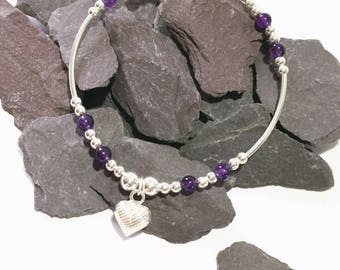 Sterling Silver and Amethyst Heart Charm Bracelet, February Birthstone, Mothers Day Stacking Bracelet, Friendship Gift, FREE UK DELIVERY