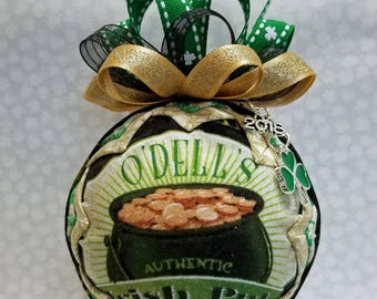 St Patrick's Day Ornament | Green & Gold Ornament| Pot O Gold | O'Dell's Irish Pub | Irish Ornament | St Patty's Day Ornament | Shamrock