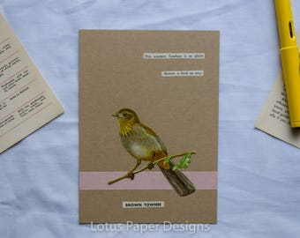 Handmade Blank Greeting Card (Flat A6) - California Towhee - Golden Guide to BIRDS
