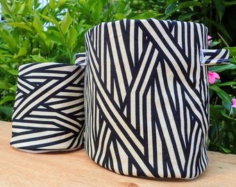 SWATCHPOTS Fabric Plant Pot - Monochrome Bamboo Print - 10cm & 14cm Diameter Sizes Available