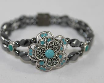 Turquoise & Silver Filigree Flower High Quality Magnetic Bracelet