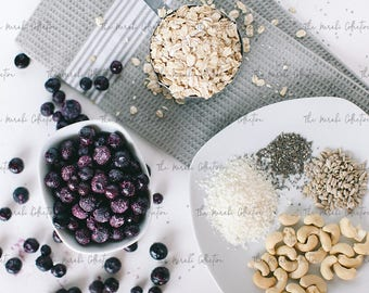 Blueberry Oatmeal Ingredients Stock Photo/ Images for health, wellness & fitness Bloggers, Coaches and Entrepreneurs