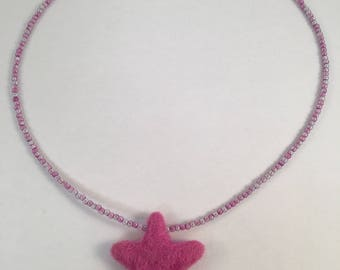 Felt Star Beaded Necklace (Pink)