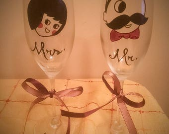 Custom Hand-Painted Themed Wine Glasses
