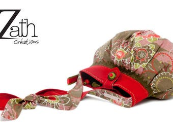 Bag backpack flowers-khaki-Red