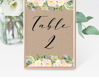 Printable Table Numbers, DIY Kraft Table Numbers, Printable Wedding Table Numbers, Tented Table Number, Rustic Wedding, Instant Download, F3