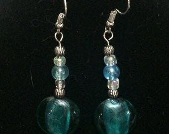 Silver and Turquoise Drop Earring