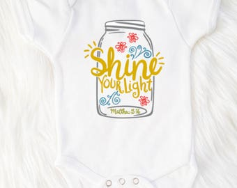 Shine your light, Matthew 5:16, Let your light shine bodysuit, Christian baby bodysuit, Christian bodysuit, Christian baby shower gift, Baby