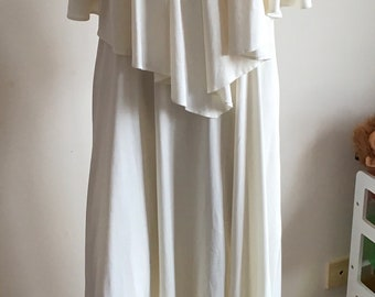 Vintage Cream C&A Caped High Neck Maxi Dress.