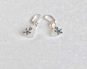 Genuine Sea Glass Starfish Earrings