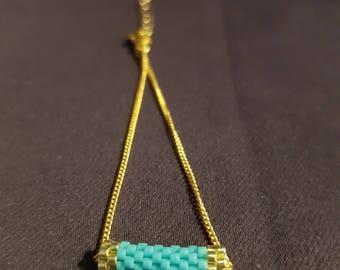 Bracelet minimalist gold chain and turquoise Miyuki beads, tiny bracelet, Pearl, turquoise bracelet, chic bracelet bracelet