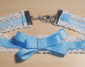 Sweet Blue Lace Choker Collar