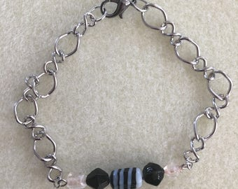 Black and Clear Beaded Bracelet