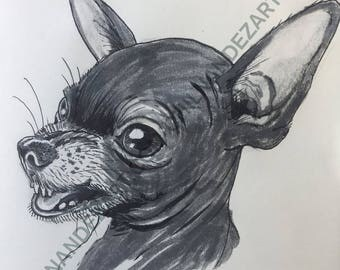 Olive the Chihuahua Pen & Ink Print