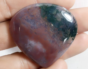 Moss Agate cabochon, 73.65 Cts , Size 41x41  MM ,Natural Moss Agate ,Heart Green Moss Agate loose gemstone. Moss Agate gemstone. 1531