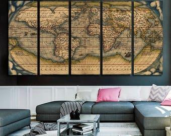 Vintage World Map Canvas Print Old World Map Wall Art Map Canvas Set World Map Panel Art for Home Decor World Map Giclee Print Poster Print