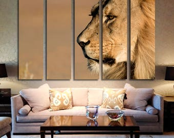 Lion Wall Art Lion Canvas Print Lion Large Wall Decor Lion Canvas Art Lion Painting Lion Poster Print Lion Home Decor Gift for She Artwork