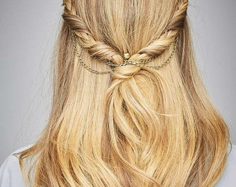 Fashion Hair Accessories Bridal Wedding Hair Chain Women Hair Styling Tool Glossy Brass
