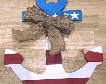 Hand painted patriotic anchor w/ Burlap bow