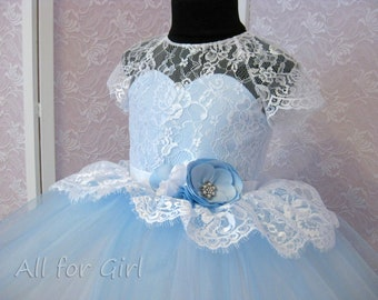 Light Blue White Flower Girl Dress Tulle Tutu Dress  White Lace Dress First Communion Dress Junior Bridesmaid Wedding Bridal Party Dress