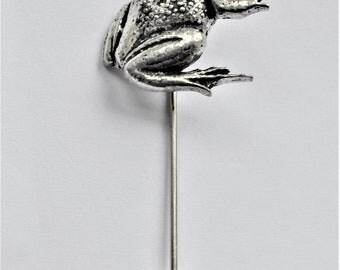 Frog Lapel Stick Pin English Pewter, Handmade, Cravat, Tie Pin, GIFT BOXED, Amphibian