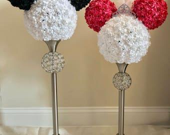 "Mickey & Minnie ""inspired"" bride and groom.  Disney wedding.  Disney theme.  Wedding shower centerpiece."
