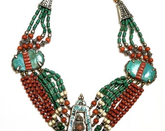 Tribal red and green bead necklace with Mexican stone side locket and bead embossed center locket