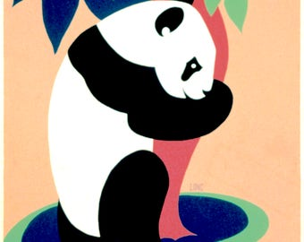 Panda - Zoo - Vintage poster reproduction in pastel colours - available A4, A3 and A2 size prints - free postage in Australia