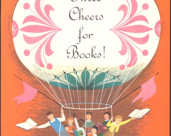 Three Cheers for Books! - vintage poster print - children in a hot air balloon - available in A4, A3 or A2 - free postage in Australia