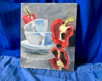 original 25 x 30 oil still life painting / red peppers / oil on canvas / dishes painting / cups and saucers painting / kitchen wall art