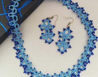 Light blue tatted necklace and earrings