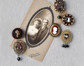 6 Victorian Style Cameo Magnets - recycled vintage jewelry and buttons - burgundy black gold heart rose - strong refrigerator magnet set