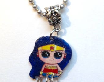 Handcrafted Plastic 3D 1 inch Jointed Legs Wonder Woman Charm Necklace Pendant Made in USA