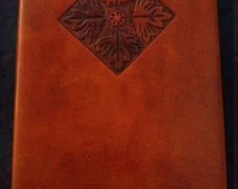 Celtic Leather Journal Early British Tile Pattern with Differently Coloured Leaves