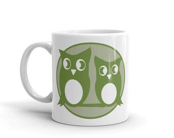 Green Owl Coffee Mug Gift for Hostess Office Geek Coworker Gardener Ceramic Tea Cup Valentines Mothers Day For Mom or Dad
