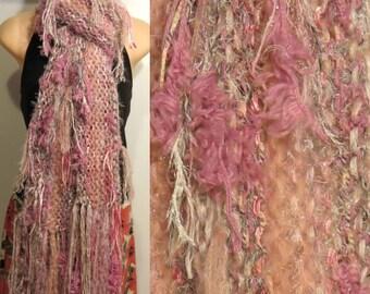 Hand Knit Pot Luck Scarf Pink Gray gypsy boho