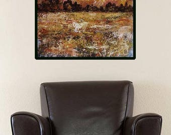 Autumn Landscape, Colorful Clouds, Sunrise, Texture, Original Painting, Landscape Painting, Home Decor, Office Art, Gift, Winjimir, Fine Art