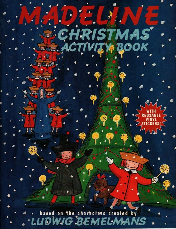 Madeline Christmas Activity Book with Reusable Vinyl Stickers - Ludwig Bemelmans - 1998 - Vintage Kids Book