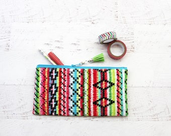 Pen pouch - pencil bag - sarape print bag - bujo accessories - bullet journal bag - Mexican bag - rainbow pouch - back to school gift
