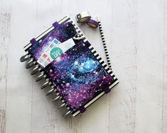 Galaxy pencil pouch - bullet journal accessories - planner bag - daily planner - galaxy zipper pouch - planner cover - space print bag