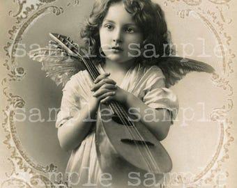SALE Printable Victorian Angel, Instant Digital Download, Vintage Christmas, Beautiful Girl Collage Sheet, Angel Printable Photograph